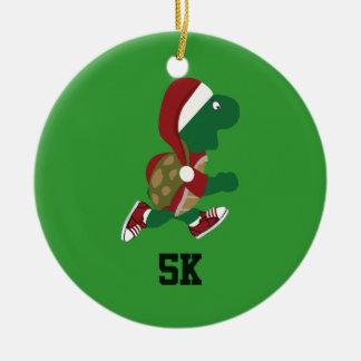 Christmas Running Turtle 5K Round Ceramic Ornament