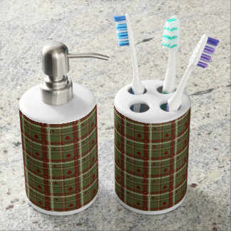 Christmas Rustic Cream, Red and Green Plaid Bathroom Set