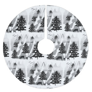 Christmas Rustic Deer Winter Woodland Mountain Brushed Polyester Tree Skirt