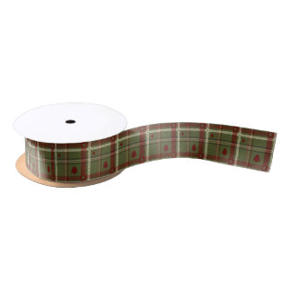 Christmas Rustic Green and Red Plaid Satin Ribbon