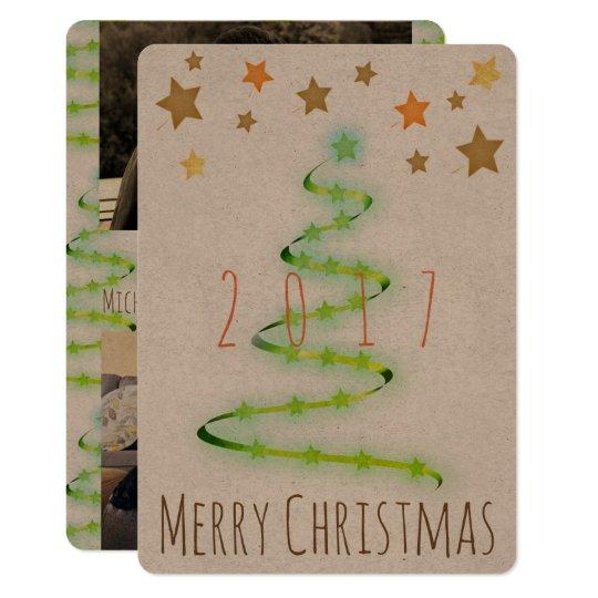 Christmas Rustic Modern Tree Photo Card 2 Pics