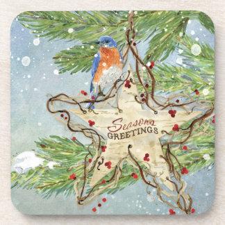 Christmas Rustic Nature Blue Bird birch Star Coasters