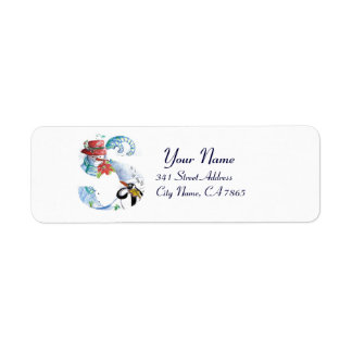 CHRISTMAS S LETTER ,PENGUIN'S SERENADE  MONOGRAM RETURN ADDRESS LABEL