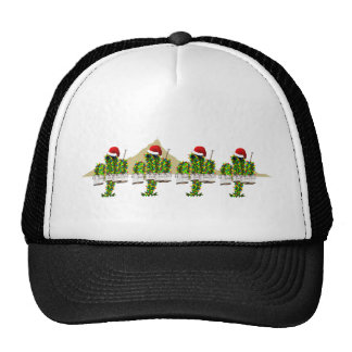 Christmas Saguaros Playing Quads Mesh Hats