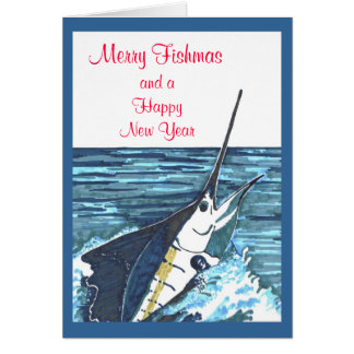Christmas Sailfish Jumps Card