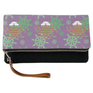 Christmas sailor baby octopus on purple background clutch