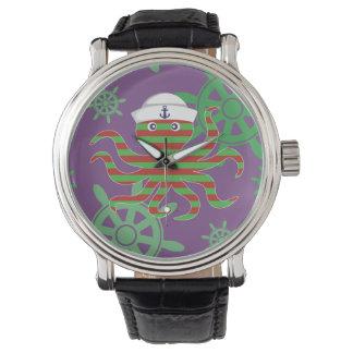 Christmas sailor baby octopus on purple background wrist watch