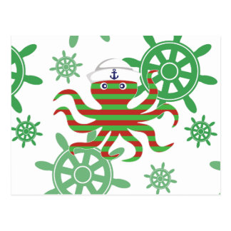 Christmas sailor baby octopus postcard