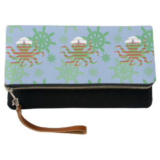 Christmas sailor baby octopus with blue background clutch