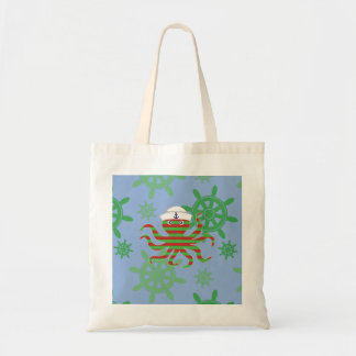 Christmas sailor baby octopus with blue background tote bag