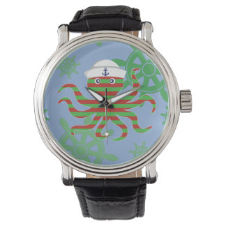 Christmas sailor baby octopus with blue background watch