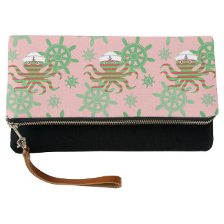 Christmas sailor baby octopus with pink background clutch