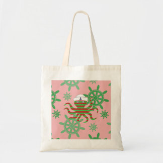 Christmas sailor baby octopus with pink background tote bag
