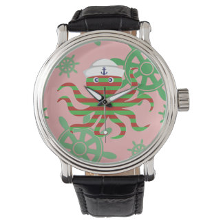 Christmas sailor baby octopus with pink background watch