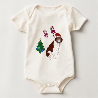 Christmas Saint Bernard dog Baby Bodysuit