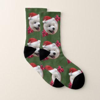 Christmas Samoyed puppy socks 1