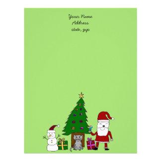 Christmas Santa and Cat Letterhead
