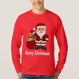 Christmas Santa and his bag mens t-shirt
