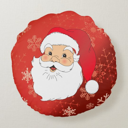 Christmas Santa and Snowman double sided Round Pillow