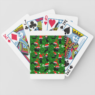 christmas santa cats bicycle playing cards