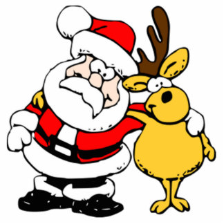Christmas Santa Claus and Reindeer Cut Out
