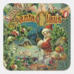 Christmas Santa Claus Antique Vintage Victorian Square Sticker