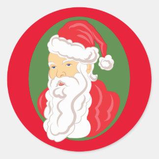 Christmas Santa Claus Cameo Classic Round Sticker