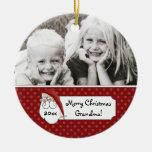 Christmas Santa Claus Grandma Photo Personalized Round Ceramic Ornament