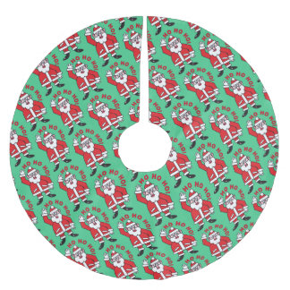 Christmas Santa Claus HO HO HO! 7.2 Brushed Polyester Tree Skirt