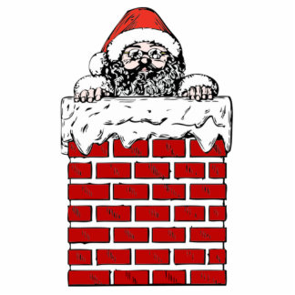 Christmas Santa Claus in Chimney Photo Cut Outs