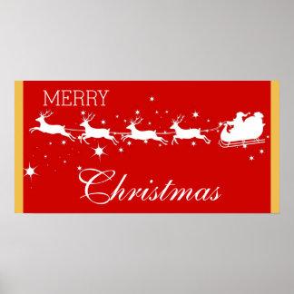 Christmas Santa Claus Reindeer Sled Flying Stars Poster