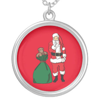 Christmas Santa Claus Silver Plated Necklace