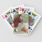 Christmas -  Santa Coming Down the Chimney Bicycle Playing Cards