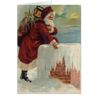 Christmas -  Santa Coming Down the Chimney Card
