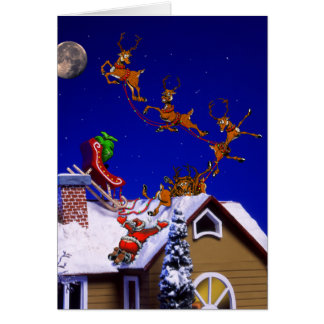 Christmas - Santa crashed on the rooftop Card