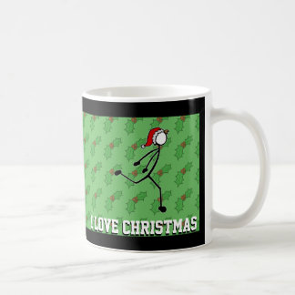 Christmas Santa Dipping Sprinter Holly Stickman Coffee Mug