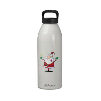 Christmas Santa drinking Champagne Water Bottle