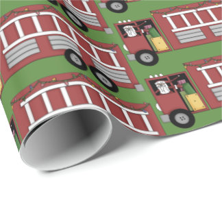 Christmas Santa driving fire truck party tiled wra Wrapping Paper