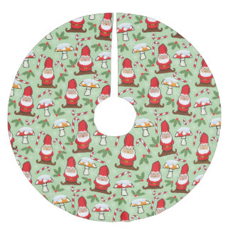 Christmas Santa Gnomes Design Brushed Polyester Tree Skirt