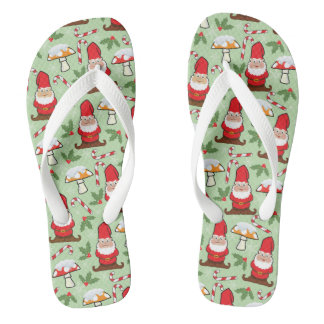 Christmas Santa Gnomes Design Flip Flops