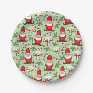 Christmas Santa Gnomes Design Paper Plate