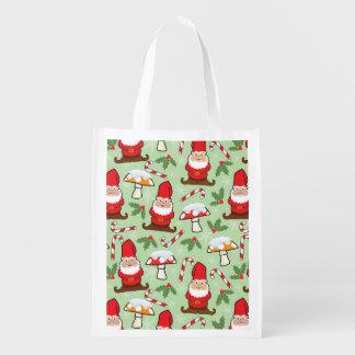 Christmas Santa Gnomes Design Reusable Grocery Bag
