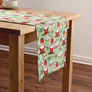 Christmas Santa Gnomes Design Short Table Runner