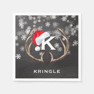 Christmas Santa Hat Snowflakes Antlers Chalkboard Disposable Napkin