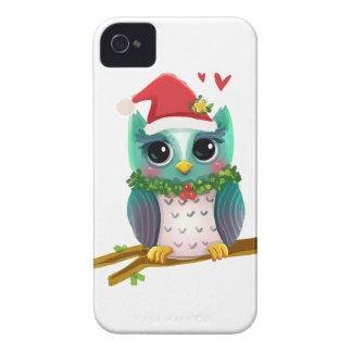 Christmas Santa Holiday Owl Mistletoe Cute iPhone 4 Case-Mate Cases