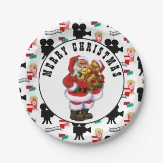 Christmas Santa Movie Night party plate