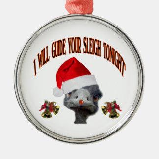 Christmas Santa Ostrich Silver-Colored Round Ornament