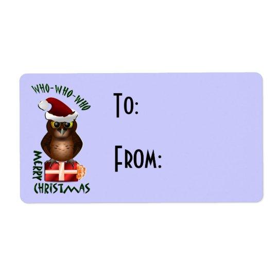 Christmas Santa Owl Gift Label