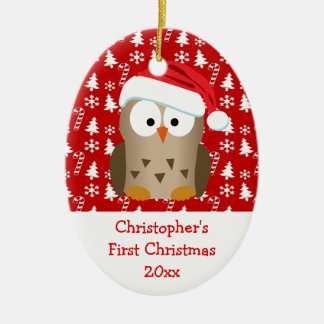 Christmas Santa Owl Personalized Kids/Baby/First Ceramic Oval Ornament