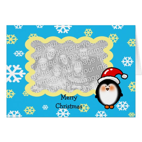Christmas Santa penguin photo card template